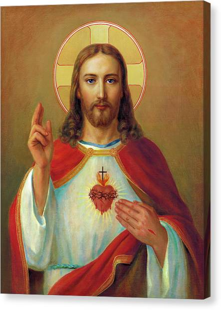 God Canvas Print - The Most Sacred Heart Of Jesus  by Svitozar Nenyuk