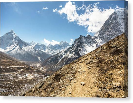 The Path To Cho La Pass In Nepal Canvas Print