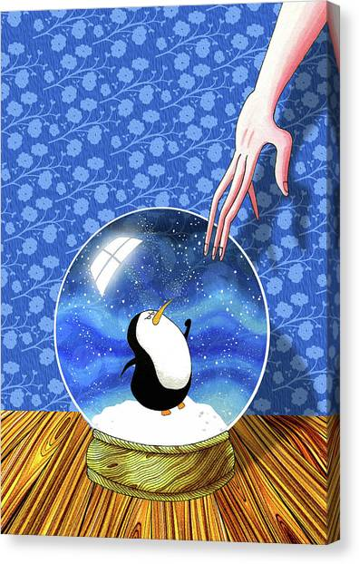 Penguins Canvas Print - The Penguin Who Didn't Like Snow  by Andrew Hitchen