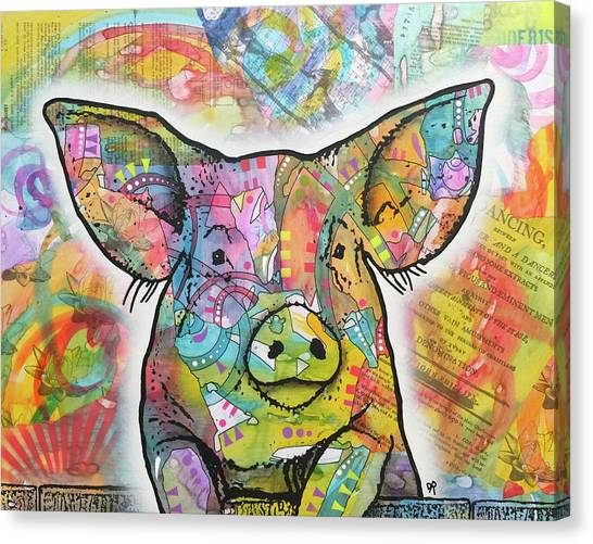 Pig Farms Canvas Print - The Pig by Dean Russo Art