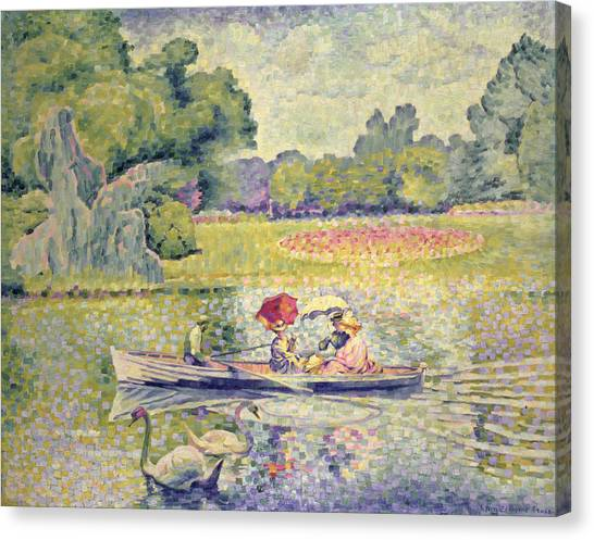 Pointillism Canvas Print - The Promenade In The Bois De Boulogne by Henri-Edmond Cross
