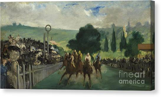 Finish Line Canvas Print - The Races At Longchamp by Edouard Manet