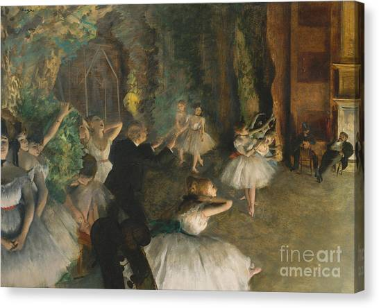 Edgar Degas Canvas Print - The Rehearsal Of The Ballet On Stage by Edgar Degas