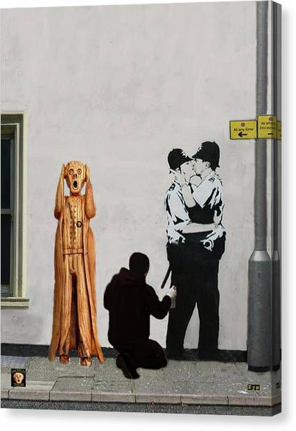 Canvas Print featuring the mixed media The Scream World Tour Street Art by Eric Kempson