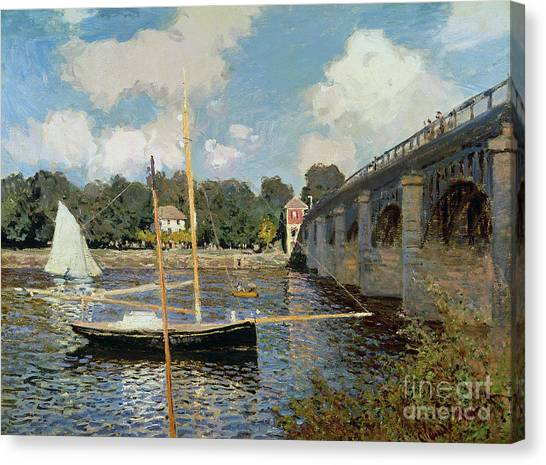 Sail Boats Canvas Print - The Seine At Argenteuil by Claude Monet