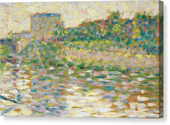 Post-impressionism Canvas Print - The Seine At Courbevoie  by Georges-Pierre Seurat