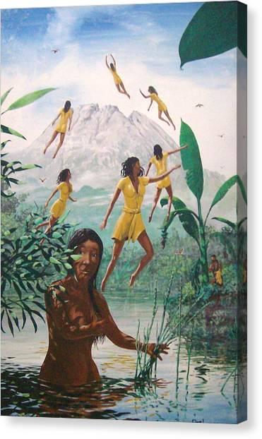 The Seven Angels Of Batur Canvas Print by David  Larcom
