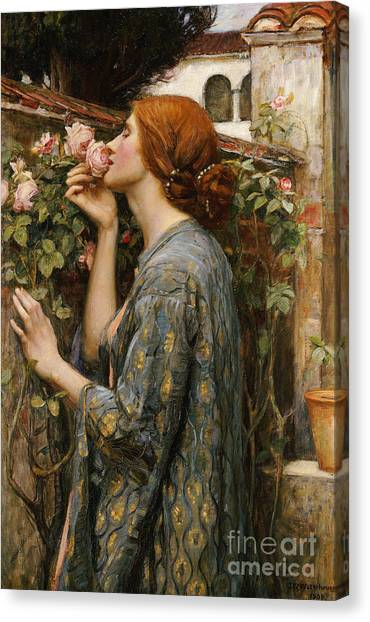 Victorian Garden Canvas Print - The Soul Of The Rose, 1908 by John William Waterhouse