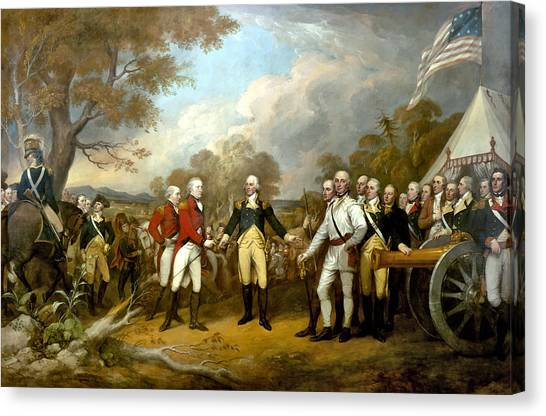 American Flag Canvas Print - The Surrender Of General Burgoyne by War Is Hell Store