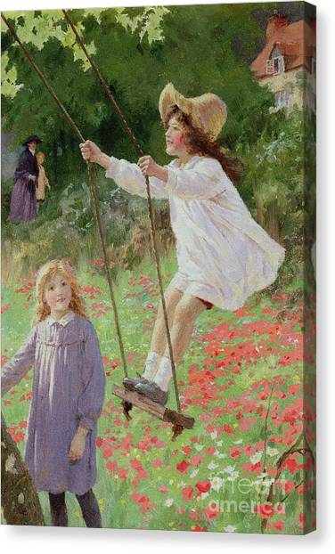 Spring Trees Canvas Print - The Swing by Percy Tarrant