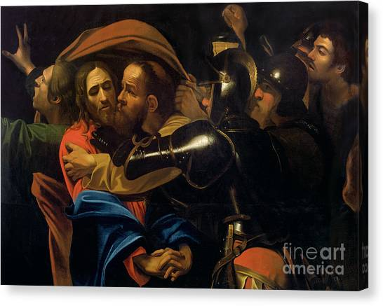 Crucify Canvas Print - The Taking Of Christ by Michelangelo Caravaggio