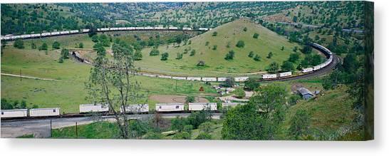 Freight Trains Canvas Print - The Tehachapi Train Loop Near Tehachapi by Panoramic Images