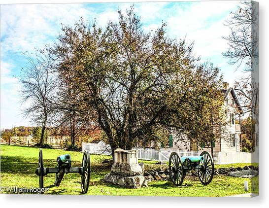 Smokehouses Canvas Print - The Trostle Farm by William Rogers