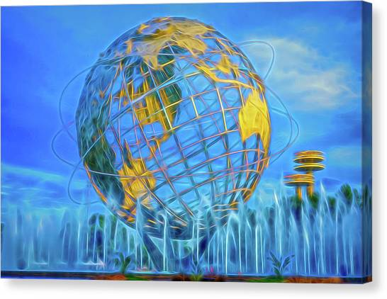 Canvas Print featuring the photograph The Unisphere by Theodore Jones