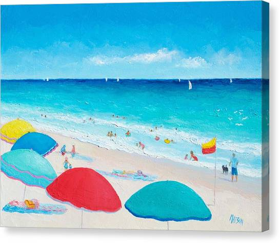 Children Playing On Beach Canvas Print - The Weather Is Sweet by Jan Matson