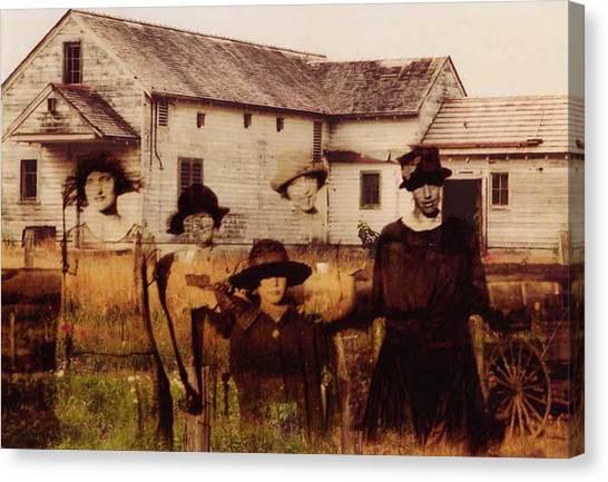Farmhouse Canvas Print - The Woodbine Turned Red by Brande Barrett