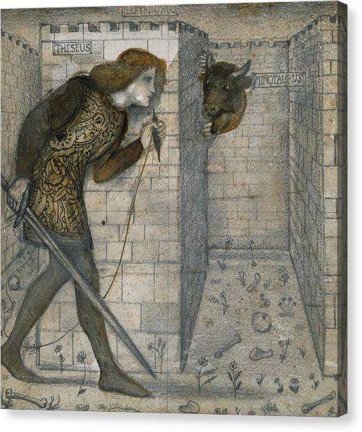 Minotaur Canvas Print - Theseus And The Minotaur In The Labyrinth by Edward Burne-Jones