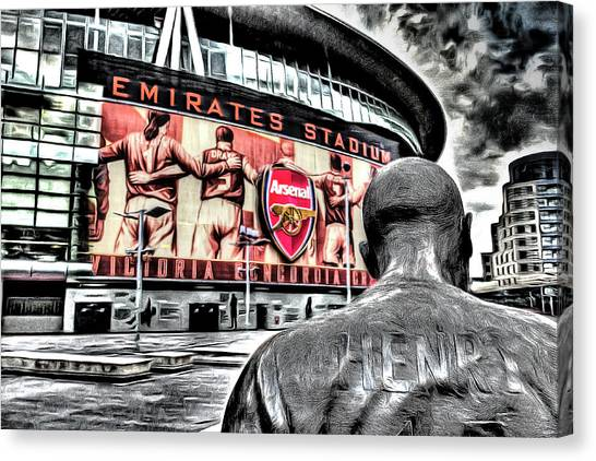 Arsenal Fc Canvas Print - Thierry Henry Statue Emirates Stadium Art by David Pyatt