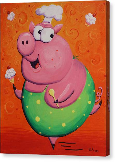 This Little Piggy Baked Cupcakes Canvas Print by Jennifer Alvarez