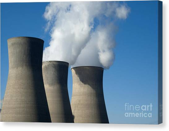 Nuclear Plants Canvas Print - Three Cooling Towers At A Power Plant. by Anthony Totah