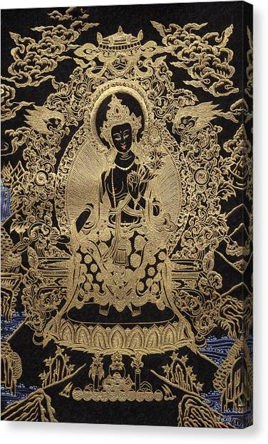 God Canvas Print - Tibetan Thangka  - Maitreya Buddha by Serge Averbukh