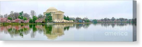 Jefferson Memorial Canvas Print - Tidal Basin With Cherry Blossoms by Jack Schultz