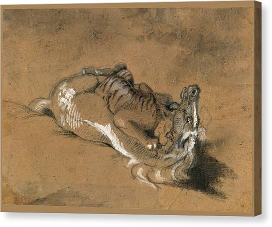 Tiger Attacks A Horse Canvas Print - Tiger Attacking A Horse by Antoine-Louis Barye