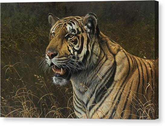 Canvas Print featuring the painting Tiger Portrait by Alan M Hunt
