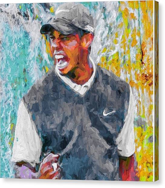 Golf Canvas Print - #tiger #tigerwoods #golf #progress by David Haskett