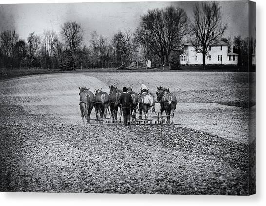 Farmers Canvas Print - Tilling The Fields by Tom Mc Nemar
