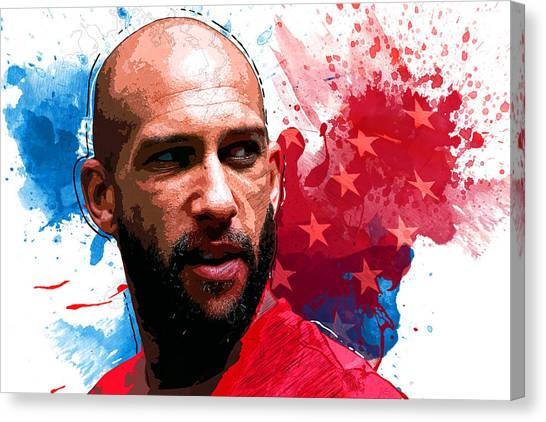 Clint Dempsey Canvas Print - Tim Howard by Semih Yurdabak
