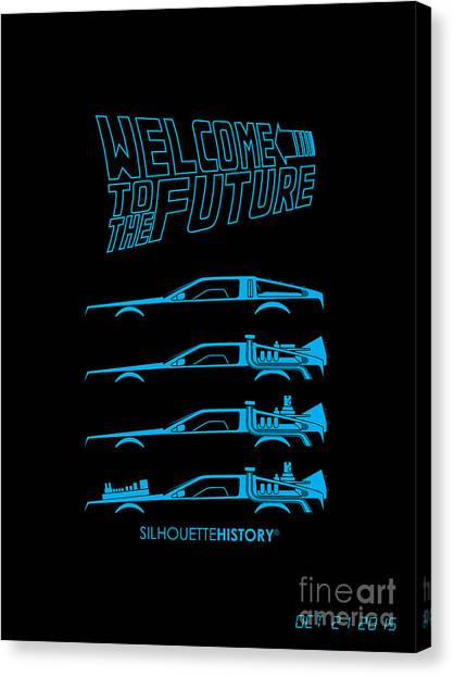 Back To The Future Canvas Print - Time Machine Silhouettehistory by Gabor VIda