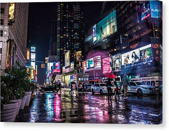 Police Car Canvas Print - Times Square Nyc by Martin Newman