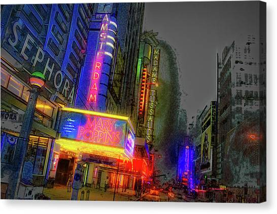 Canvas Print featuring the photograph Times Square by Theodore Jones