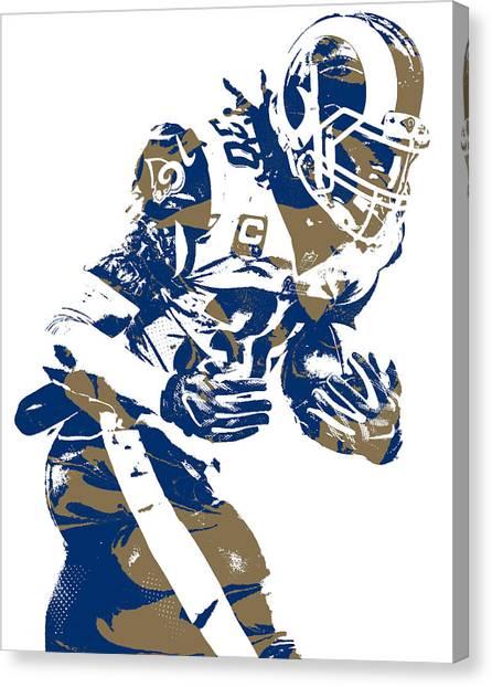 Los Angeles Rams Canvas Print - Todd Gurley Los Angeles Rams Pixel Art 20 by Joe Hamilton