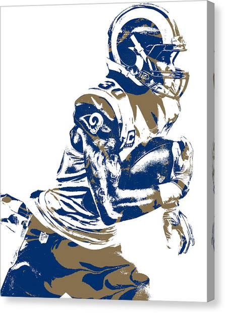 Los Angeles Rams Canvas Print - Todd Gurley Los Angeles Rams Pixel Art 24 by Joe Hamilton