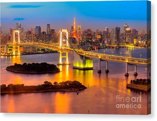 Tokyo Skyline Canvas Print - Tokyo - Japan by Luciano Mortula