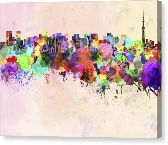 Tokyo Skyline Canvas Print - Tokyo Skyline In Watercolor Background by Pablo Romero
