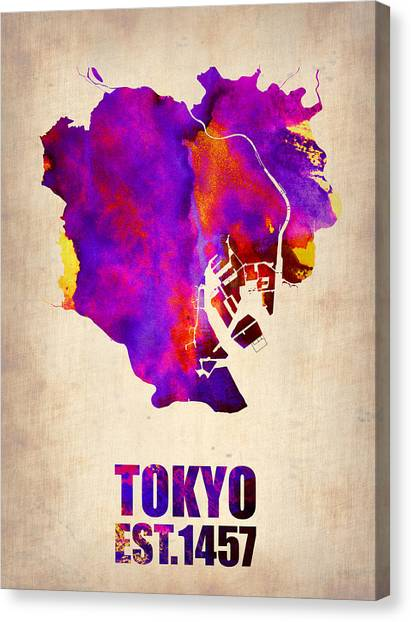 Japanese Canvas Print - Tokyo Watercolor Map 2 by Naxart Studio