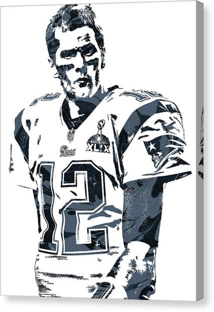 Tom Brady Canvas Print - Tom Brady New England Patriots Pixel Art 6 by Joe Hamilton