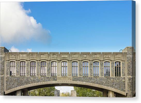 Virginia Polytechnic Institute And State University Virginia Tech Canvas Print - Torgersen Bridge At Virginia Tech University by Bryan Pollard