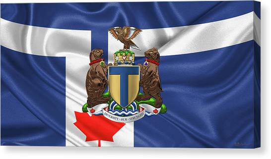 Flags Canvas Print - Toronto - Coat Of Arms Over City Of Toronto Flag  by Serge Averbukh