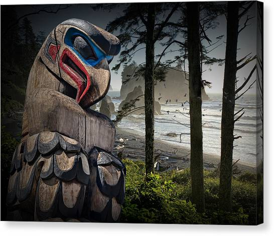 Totem Pole In The Pacific Northwest Canvas Print