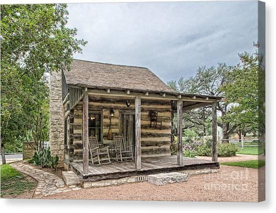 Town Creek Log Cabin Canvas Print