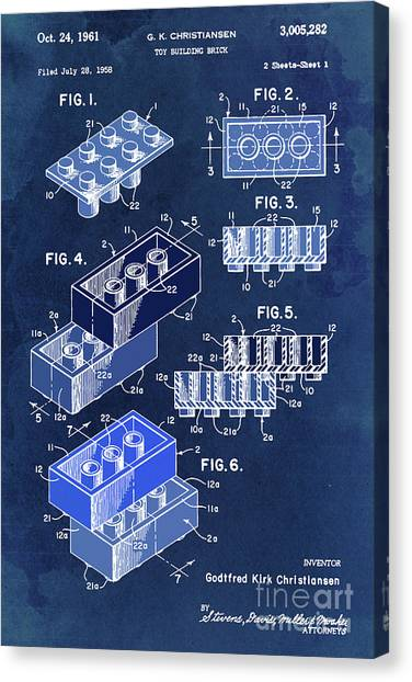 Block Canvas Print - Toy Blocks Patent, Blue Blocks On Vintage Background by Drawspots Illustrations