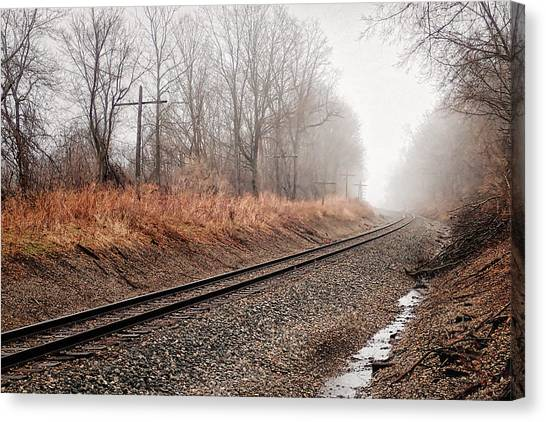 Canvas Print featuring the photograph Tracks In Morning Fog by Lars Lentz