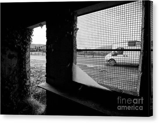Brexit Canvas Print - traffic passing disused old Irish Customs post on the irish border between Northern Ireland and Repu by Joe Fox