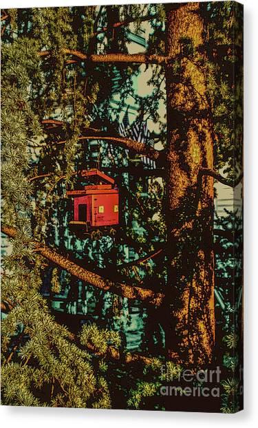 Train Bird House Canvas Print