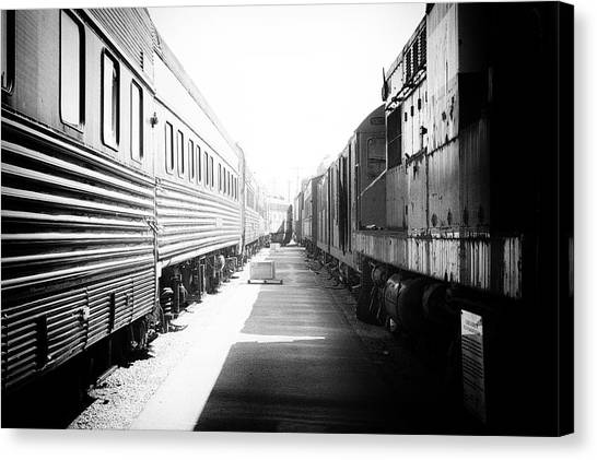 Thomas The Train Canvas Print - Train Yards 02 Black And White by Thomas Woolworth