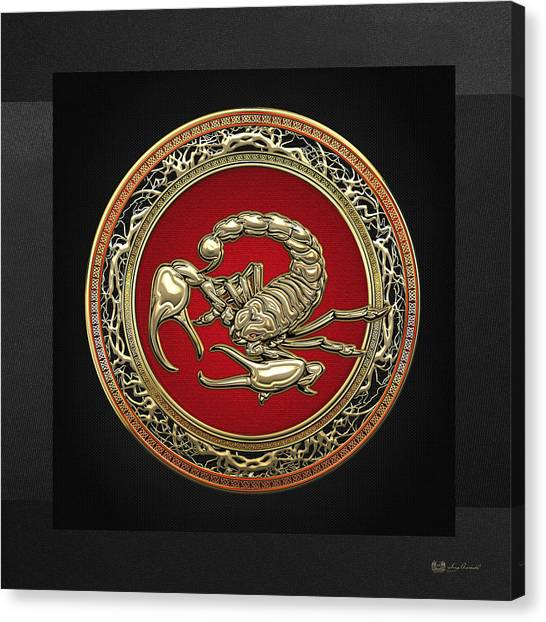 Gold Canvas Print - Treasure Trove - Sacred Golden Scorpion On Black by Serge Averbukh